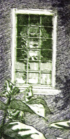 "Lady Skipwythe (green-violet version), reductive etching,  4"" x 2,"" 2013"